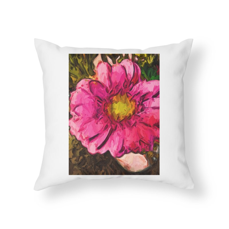 The Euphoria of the Pink and Yellow Flower Home Throw Pillow by jackievano's Artist Shop