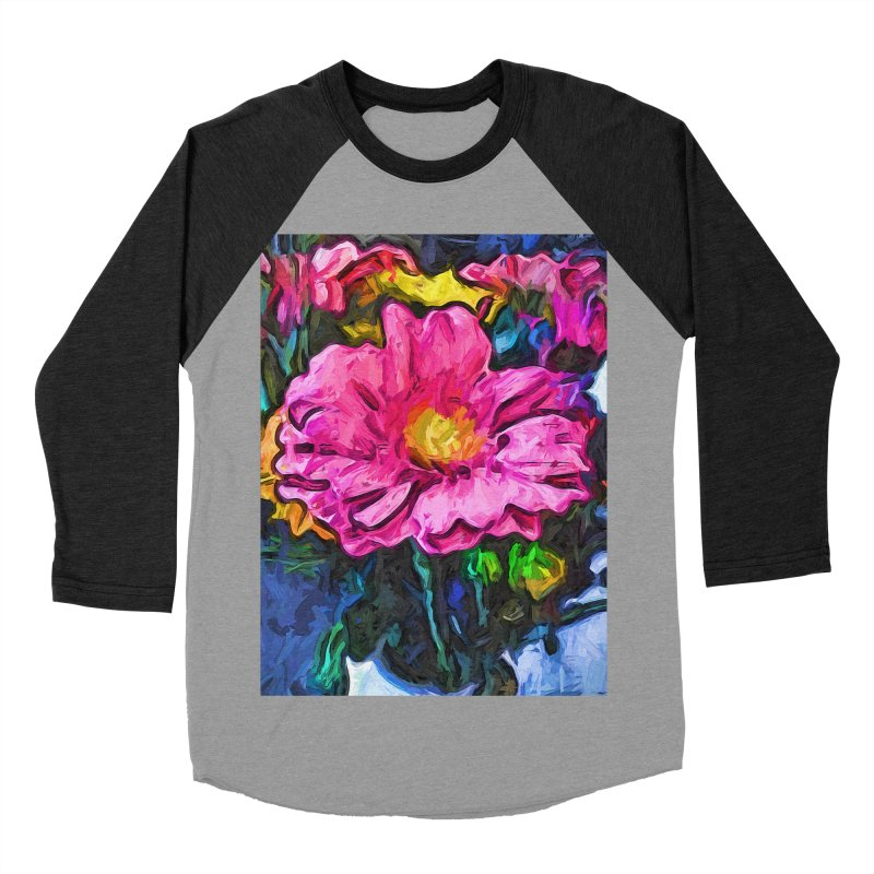 The Flames in the Soul of the Pink and Yellow Flower Women's Baseball Triblend T-Shirt by jackievano's Artist Shop