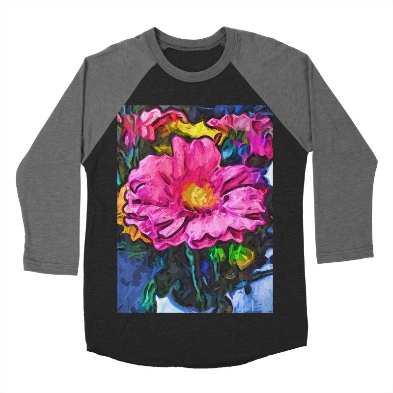 The Flames in the Soul of the Pink and Yellow Flower Men's Baseball Triblend T-Shirt by jackievano's Artist Shop