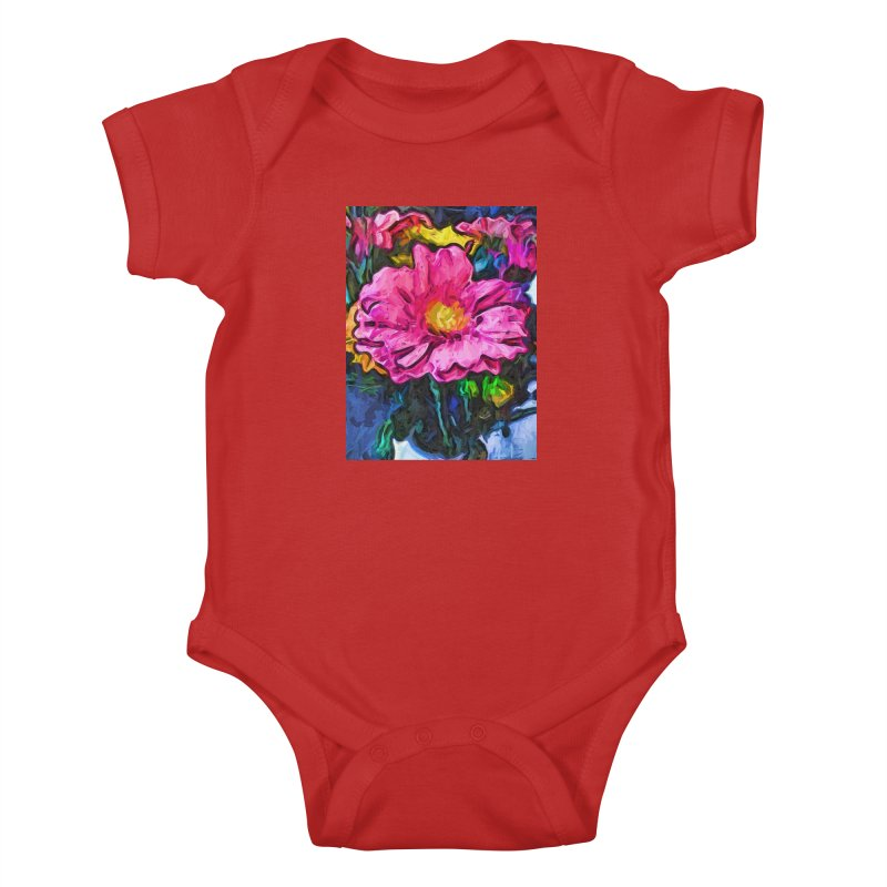 The Flames in the Soul of the Pink and Yellow Flower Kids Baby Bodysuit by jackievano's Artist Shop