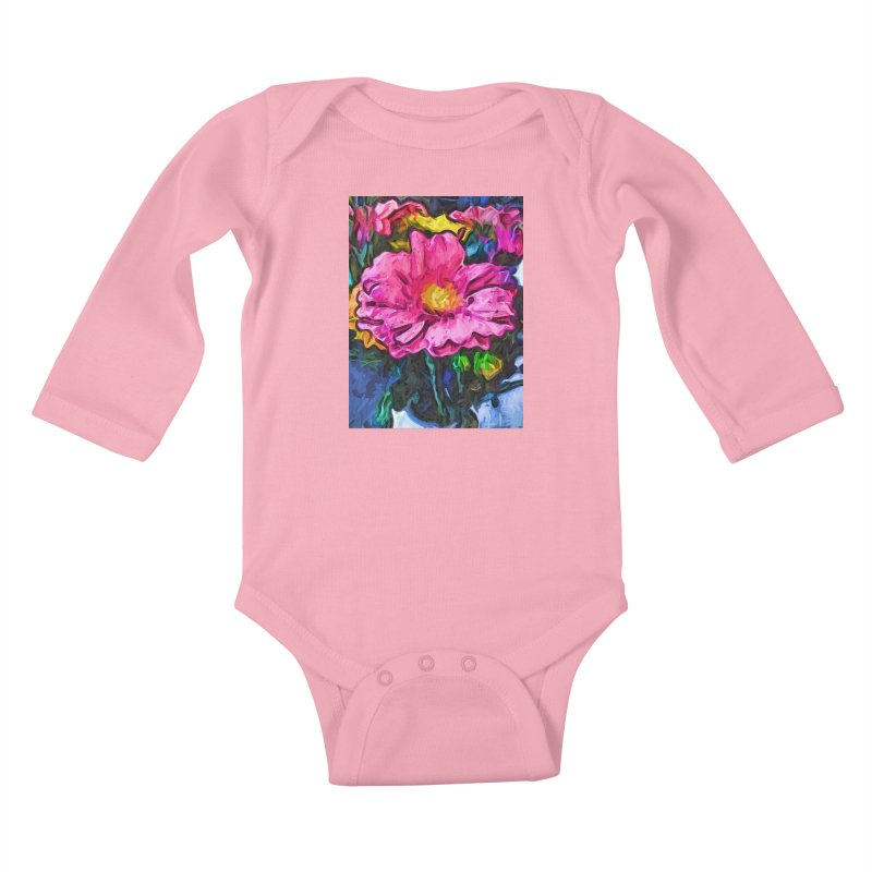 The Flames in the Soul of the Pink and Yellow Flower Kids Baby Longsleeve Bodysuit by jackievano's Artist Shop