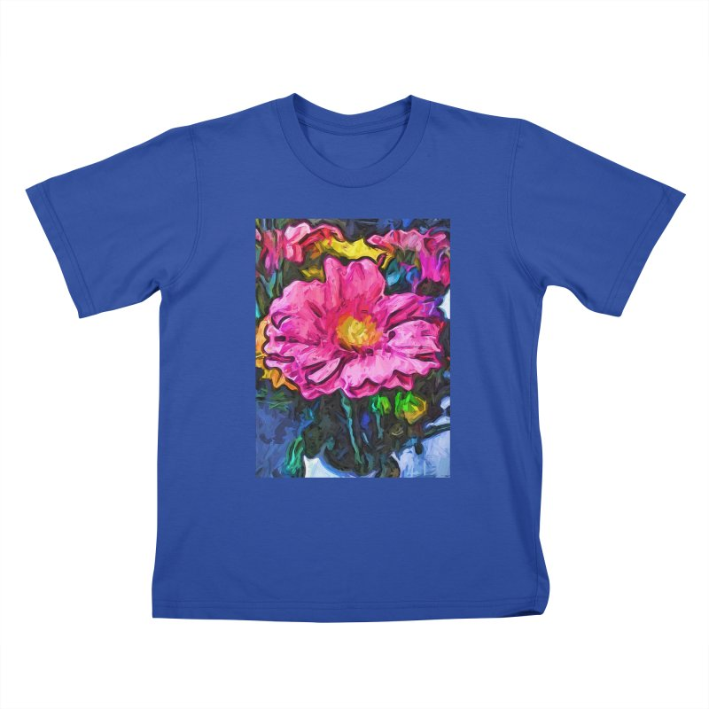 The Flames in the Soul of the Pink and Yellow Flower Kids T-Shirt by jackievano's Artist Shop