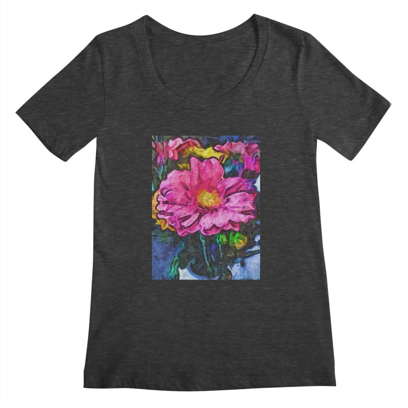 The Flames in the Soul of the Pink and Yellow Flower Women's Scoopneck by jackievano's Artist Shop
