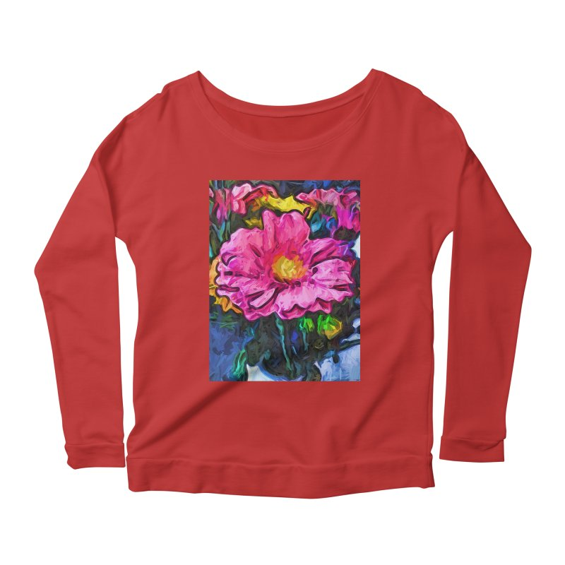 The Flames in the Soul of the Pink and Yellow Flower Women's Longsleeve Scoopneck  by jackievano's Artist Shop