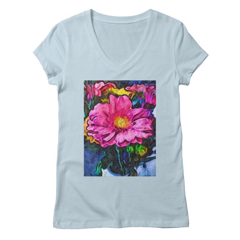 The Flames in the Soul of the Pink and Yellow Flower Women's V-Neck by jackievano's Artist Shop