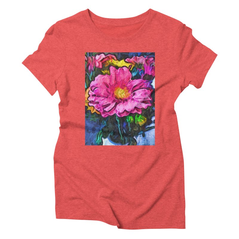 The Flames in the Soul of the Pink and Yellow Flower Women's Triblend T-Shirt by jackievano's Artist Shop