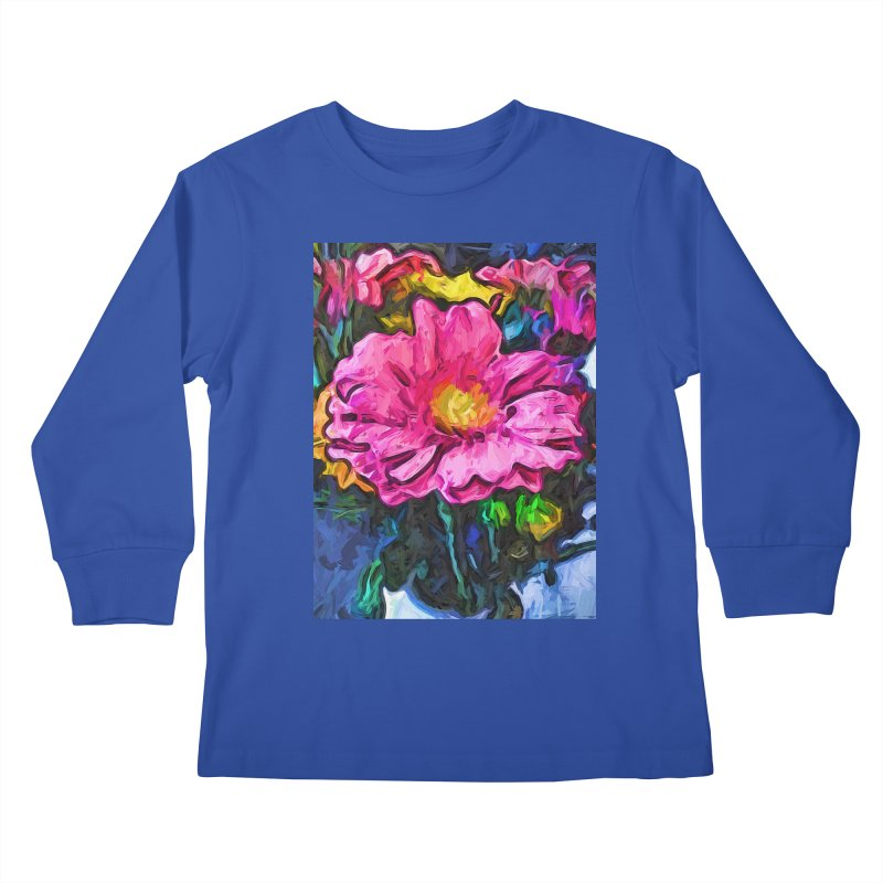 The Flames in the Soul of the Pink and Yellow Flower Kids Longsleeve T-Shirt by jackievano's Artist Shop