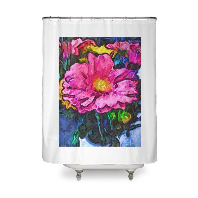 The Flames in the Soul of the Pink and Yellow Flower Home Shower Curtain by jackievano's Artist Shop