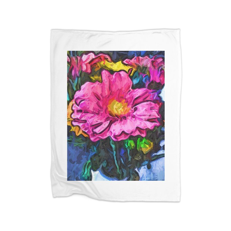 The Flames in the Soul of the Pink and Yellow Flower Home Blanket by jackievano's Artist Shop