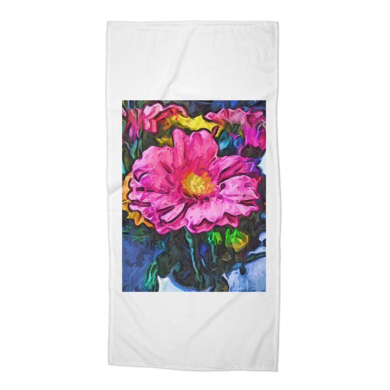The Flames in the Soul of the Pink and Yellow Flower Accessories Beach Towel by jackievano's Artist Shop