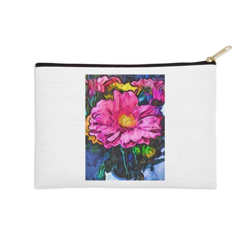 The Flames in the Soul of the Pink and Yellow Flower Accessories Zip Pouch by jackievano's Artist Shop