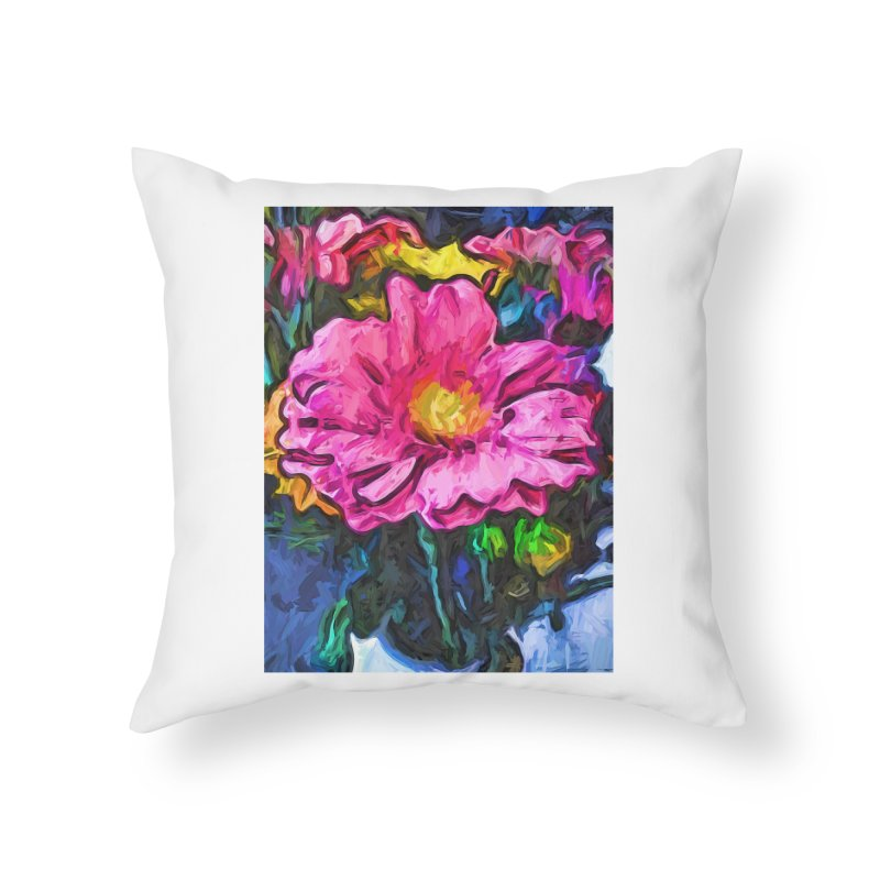 The Flames in the Soul of the Pink and Yellow Flower Home Throw Pillow by jackievano's Artist Shop