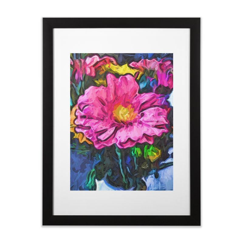 The Flames in the Soul of the Pink and Yellow Flower Home Framed Fine Art Print by jackievano's Artist Shop