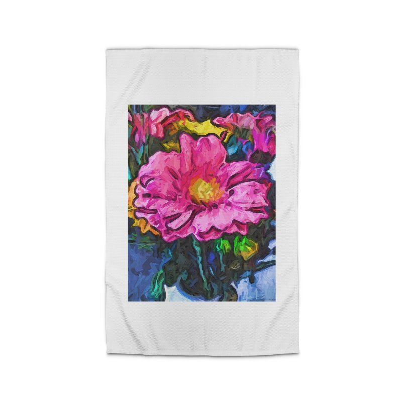The Flames in the Soul of the Pink and Yellow Flower Home Rug by jackievano's Artist Shop