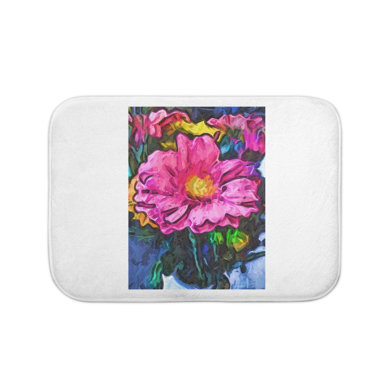 The Flames in the Soul of the Pink and Yellow Flower Home Bath Mat by jackievano's Artist Shop