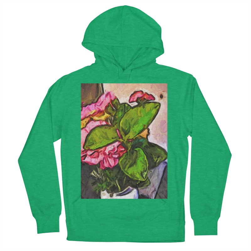 The Embrace of the Green Leaves and the Pink Flowers Men's Pullover Hoody by jackievano's Artist Shop