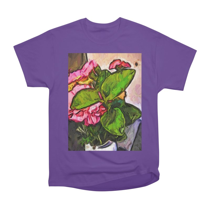 The Embrace of the Green Leaves and the Pink Flowers Men's Heavyweight T-Shirt by jackievano's Artist Shop