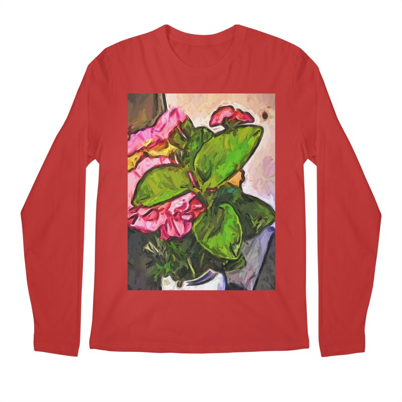 The Embrace of the Green Leaves and the Pink Flowers Men's Longsleeve T-Shirt by jackievano's Artist Shop