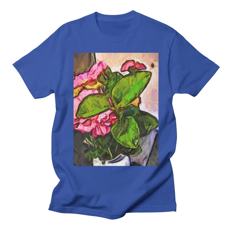 The Embrace of the Green Leaves and the Pink Flowers Men's T-Shirt by jackievano's Artist Shop