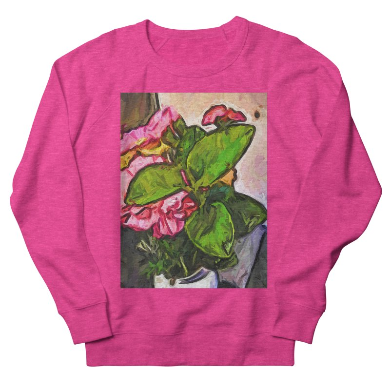 The Embrace of the Green Leaves and the Pink Flowers Women's Sweatshirt by jackievano's Artist Shop