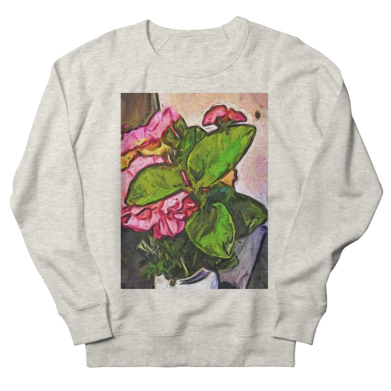 The Embrace of the Green Leaves and the Pink Flowers Men's Sweatshirt by jackievano's Artist Shop