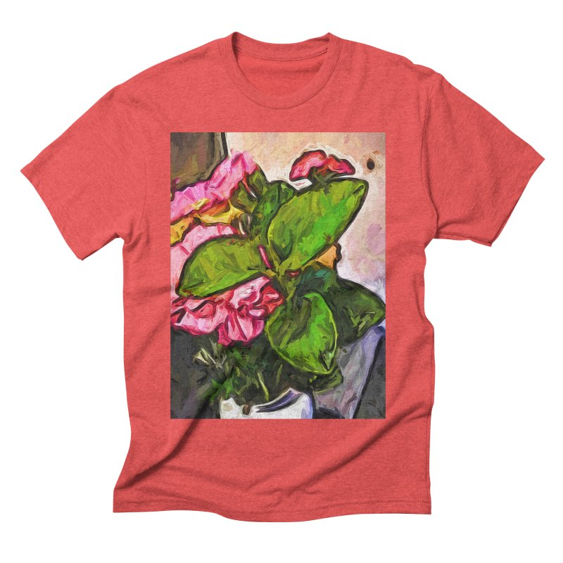 The Embrace of the Green Leaves and the Pink Flowers Men's Triblend T-Shirt by jackievano's Artist Shop