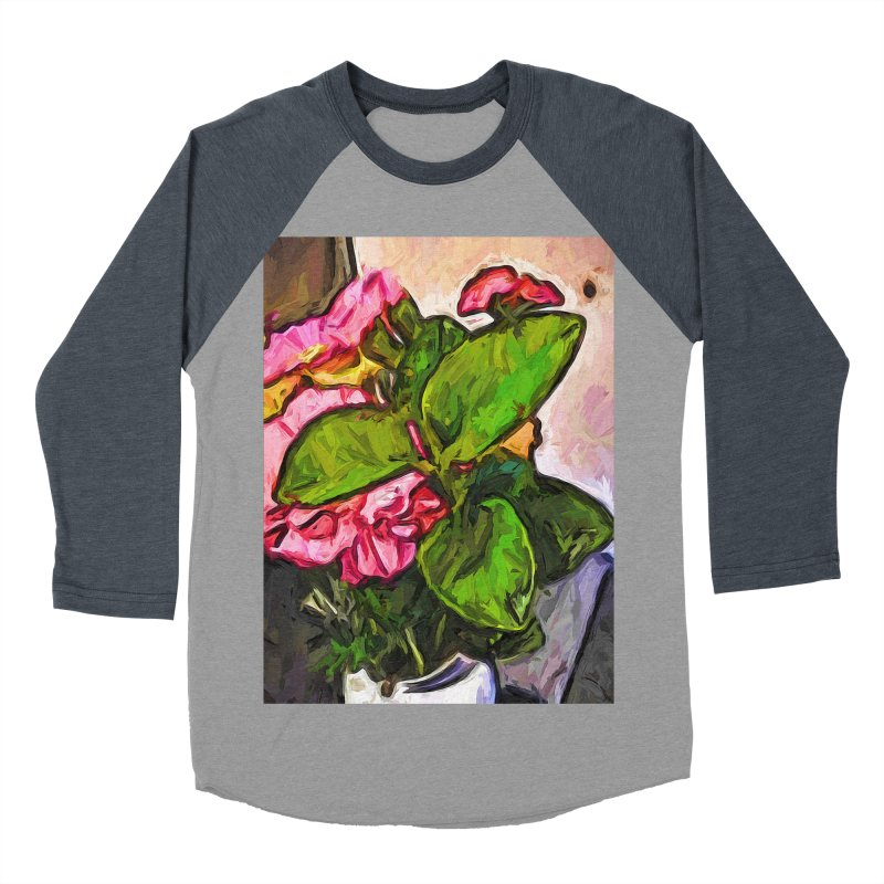 The Embrace of the Green Leaves and the Pink Flowers Women's Baseball Triblend T-Shirt by jackievano's Artist Shop