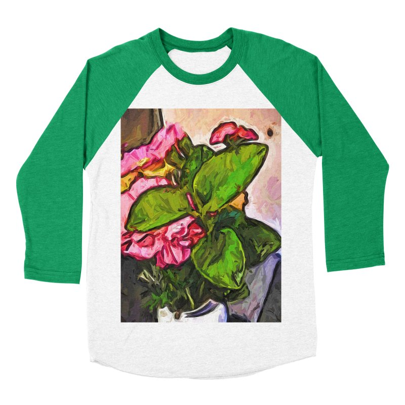 The Embrace of the Green Leaves and the Pink Flowers Men's Baseball Triblend T-Shirt by jackievano's Artist Shop