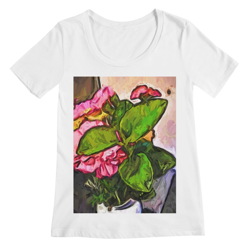 The Embrace of the Green Leaves and the Pink Flowers Women's Scoopneck by jackievano's Artist Shop