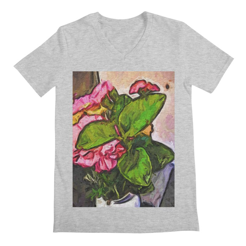 The Embrace of the Green Leaves and the Pink Flowers Men's V-Neck by jackievano's Artist Shop