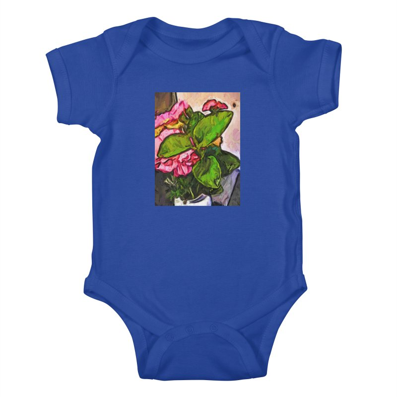 The Embrace of the Green Leaves and the Pink Flowers Kids Baby Bodysuit by jackievano's Artist Shop