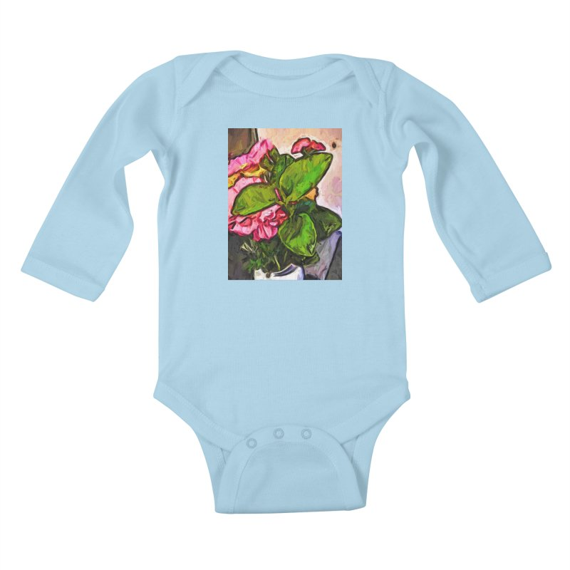 The Embrace of the Green Leaves and the Pink Flowers Kids Baby Longsleeve Bodysuit by jackievano's Artist Shop