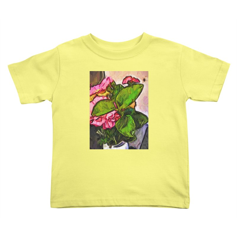 The Embrace of the Green Leaves and the Pink Flowers Kids Toddler T-Shirt by jackievano's Artist Shop