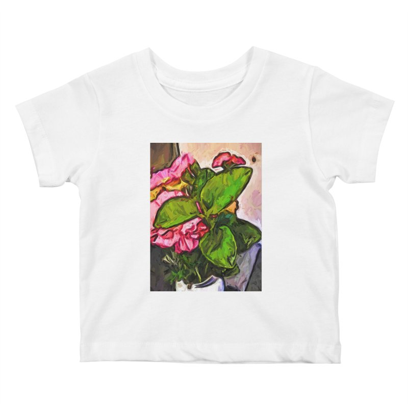 The Embrace of the Green Leaves and the Pink Flowers Kids Baby T-Shirt by jackievano's Artist Shop