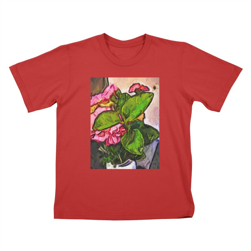 The Embrace of the Green Leaves and the Pink Flowers Kids T-Shirt by jackievano's Artist Shop