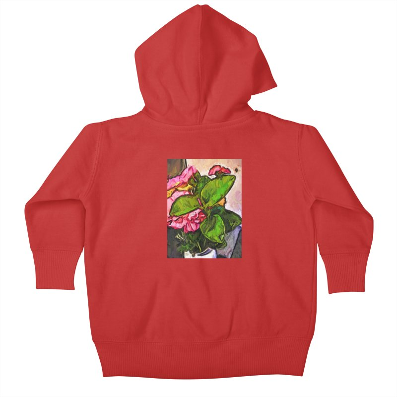 The Embrace of the Green Leaves and the Pink Flowers Kids Baby Zip-Up Hoody by jackievano's Artist Shop
