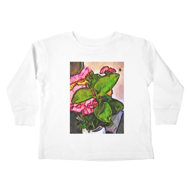 The Embrace of the Green Leaves and the Pink Flowers Kids Toddler Longsleeve T-Shirt by jackievano's Artist Shop