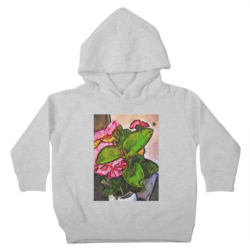 The Embrace of the Green Leaves and the Pink Flowers Kids Toddler Pullover Hoody by jackievano's Artist Shop