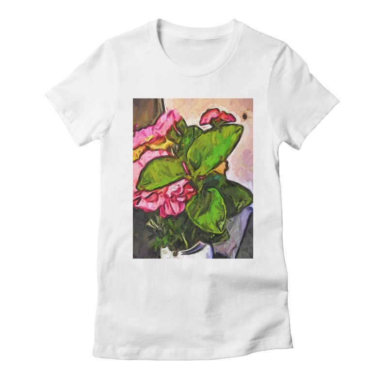 The Embrace of the Green Leaves and the Pink Flowers Women's Fitted T-Shirt by jackievano's Artist Shop