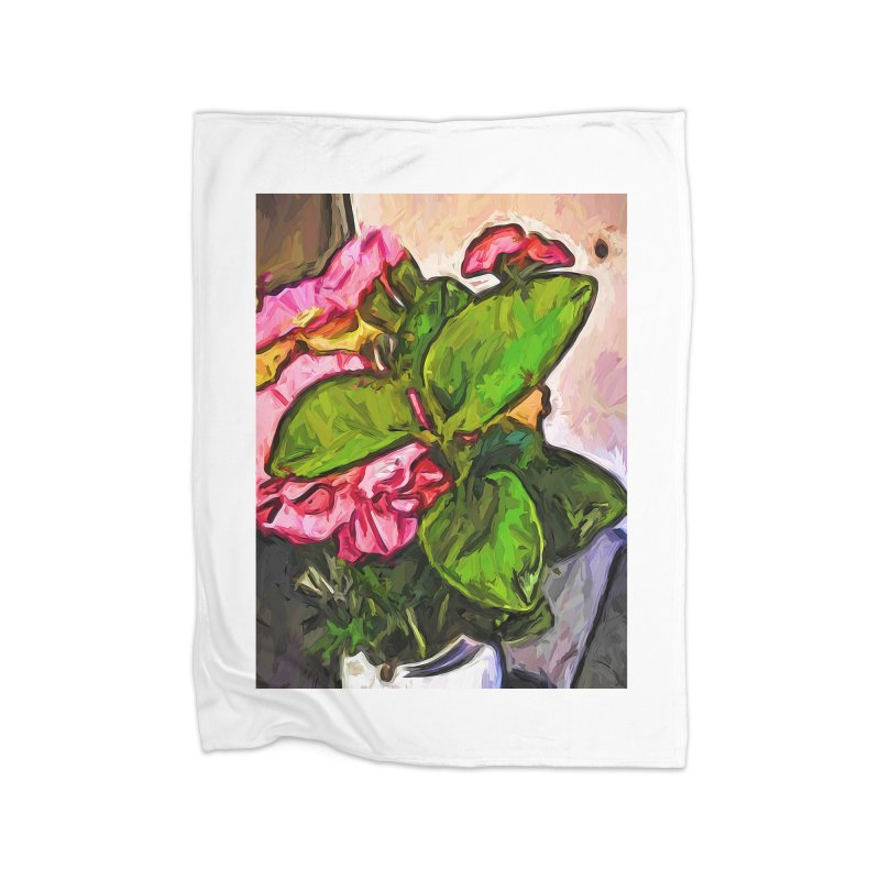 The Embrace of the Green Leaves and the Pink Flowers Home Blanket by jackievano's Artist Shop