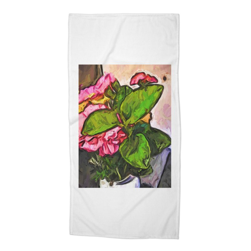 The Embrace of the Green Leaves and the Pink Flowers Accessories Beach Towel by jackievano's Artist Shop