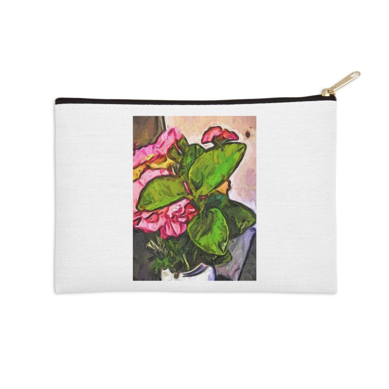 The Embrace of the Green Leaves and the Pink Flowers Accessories Zip Pouch by jackievano's Artist Shop
