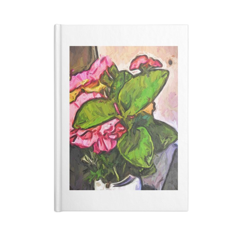 The Embrace of the Green Leaves and the Pink Flowers Accessories Notebook by jackievano's Artist Shop
