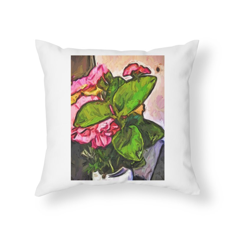 The Embrace of the Green Leaves and the Pink Flowers Home Throw Pillow by jackievano's Artist Shop