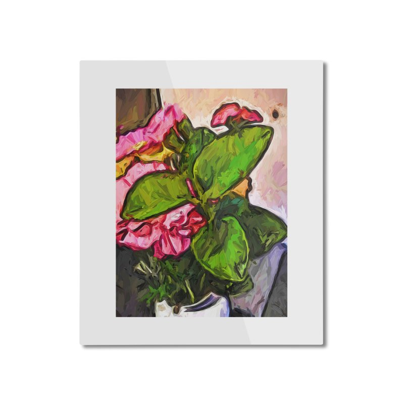 The Embrace of the Green Leaves and the Pink Flowers Home Mounted Aluminum Print by jackievano's Artist Shop