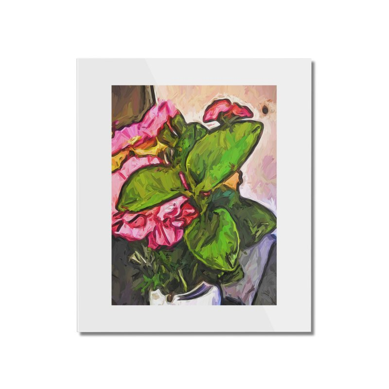 The Embrace of the Green Leaves and the Pink Flowers Home Mounted Acrylic Print by jackievano's Artist Shop