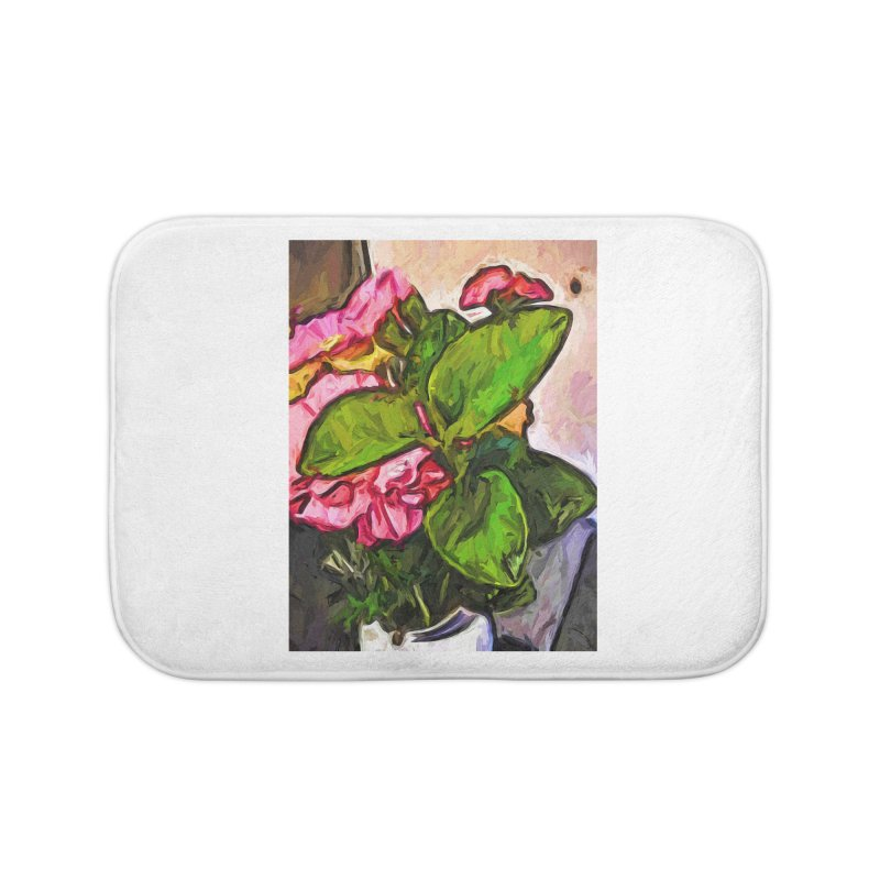 The Embrace of the Green Leaves and the Pink Flowers Home Bath Mat by jackievano's Artist Shop