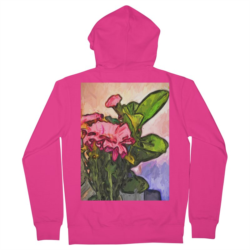The Embrace of the Pink Flowers and the Green Leaves Men's Zip-Up Hoody by jackievano's Artist Shop