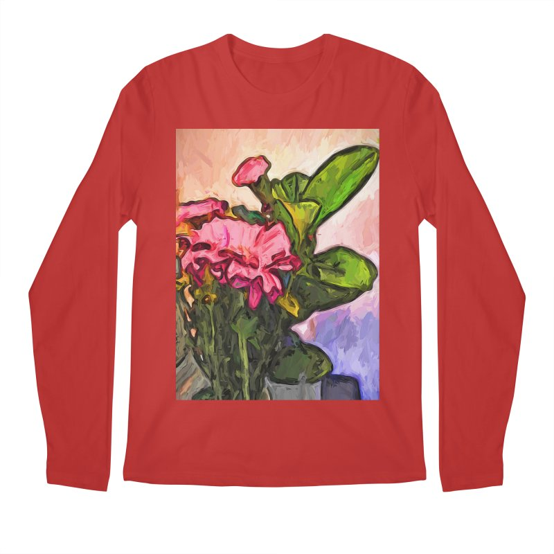The Embrace of the Pink Flowers and the Green Leaves Men's Longsleeve T-Shirt by jackievano's Artist Shop