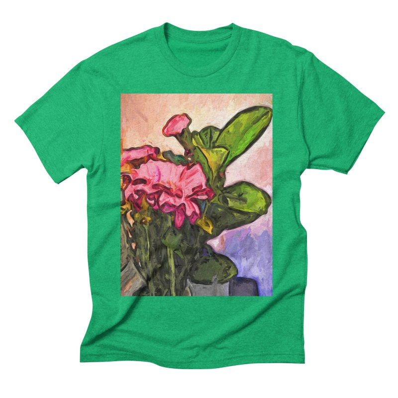 The Embrace of the Pink Flowers and the Green Leaves Men's Triblend T-Shirt by jackievano's Artist Shop